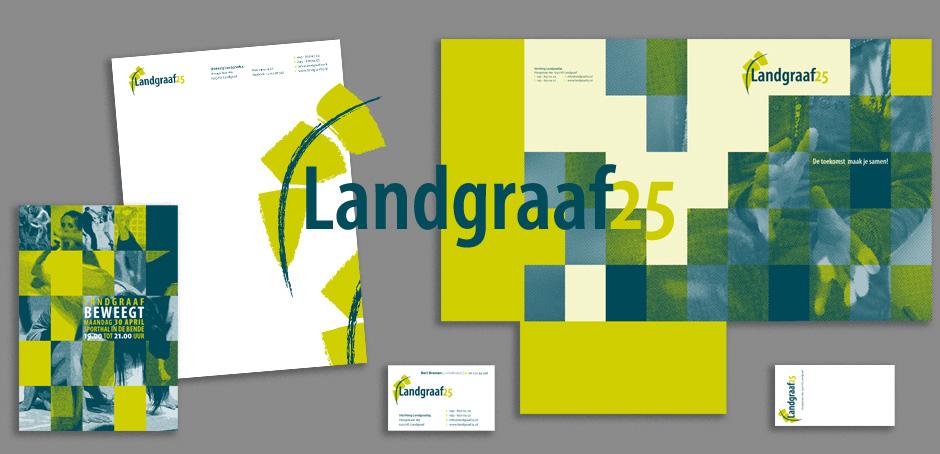 Landgraaf25 logo, briefpapier, map, visitekaartje, folder en etiket.